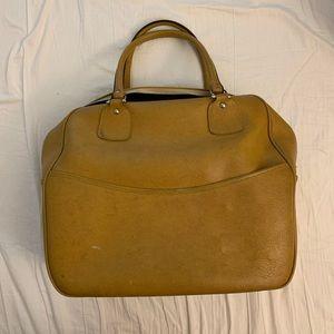 Vintage mustard yellow vegan leather luggage bag